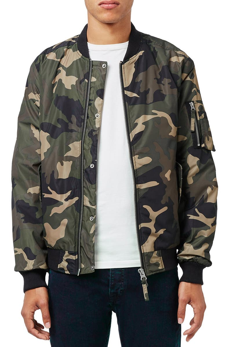 TOPMAN Camo Print MA-1 Bomber Jacket, Main, color, 300