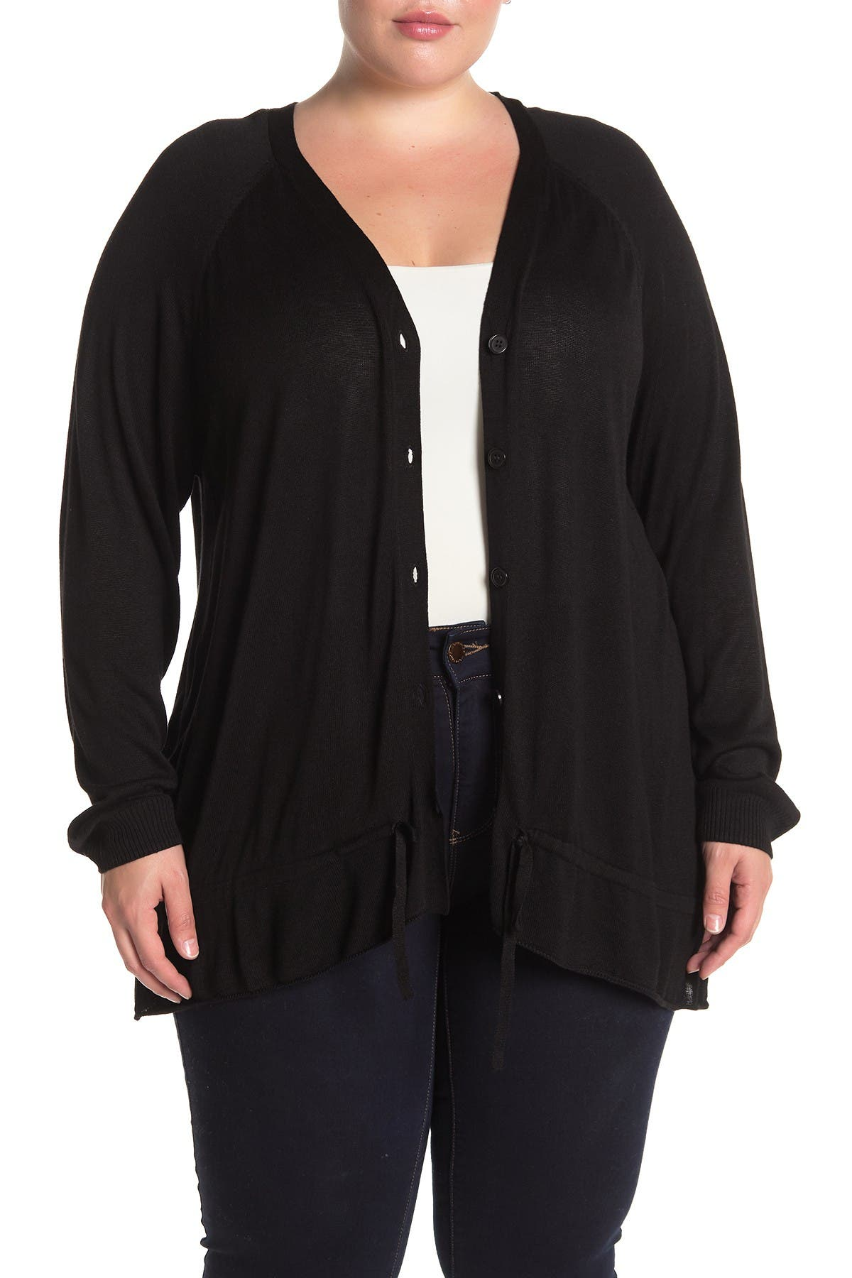 Image of One A V-Neck Button Front Ruffled Cardigan