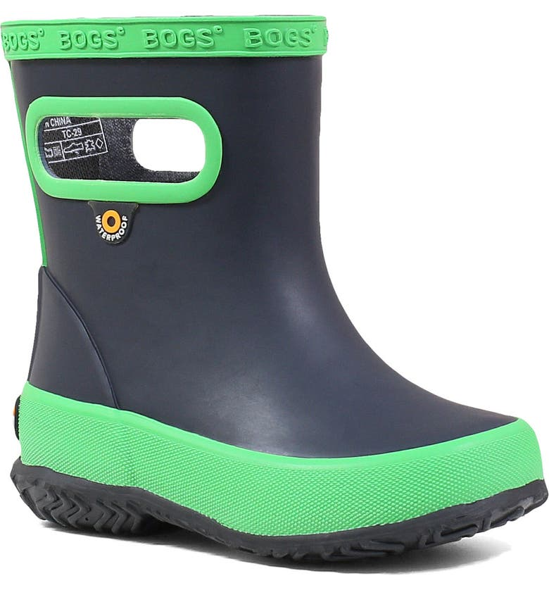 BOGS Skipper Solid Waterproof Rain Boot, Main, color, NAVY/ GREEN