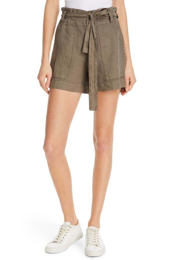 Joie Daynna Belted Linen Cargo Shorts In Jungle