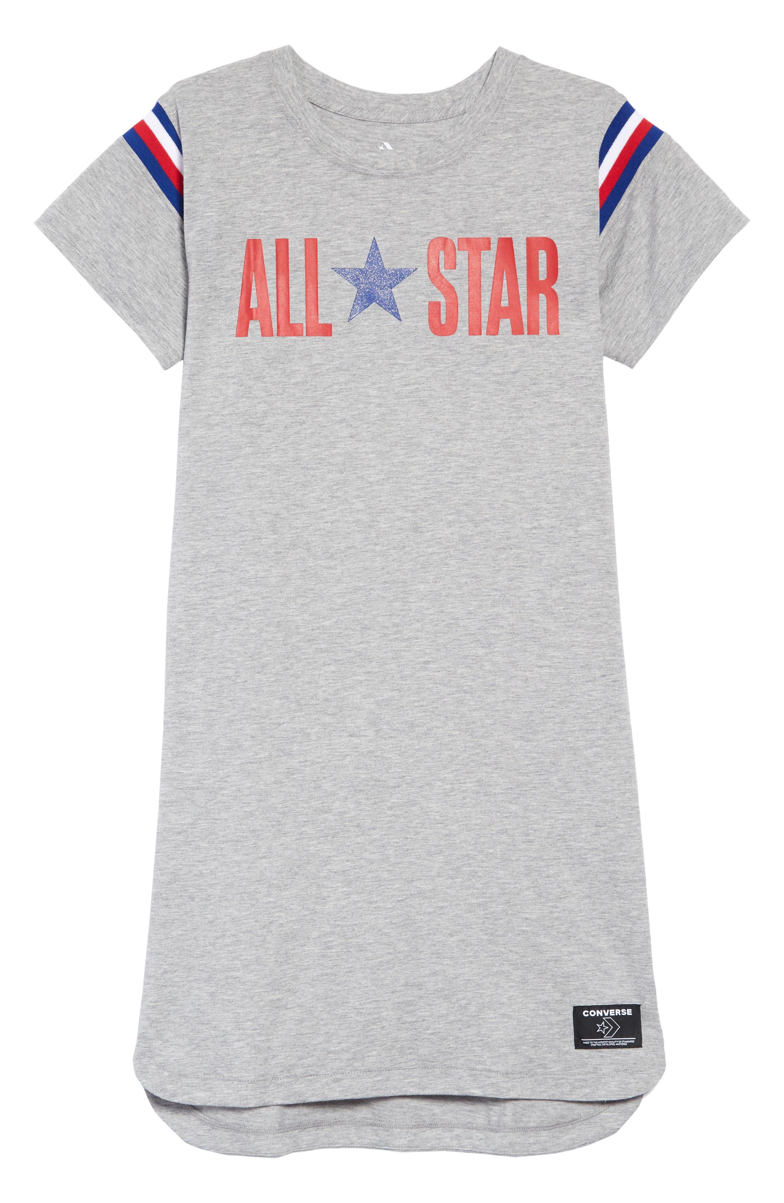 ,                             All Star Logo Jersey Dress,                             Main thumbnail 1, color,                             DK GREY HEATHER