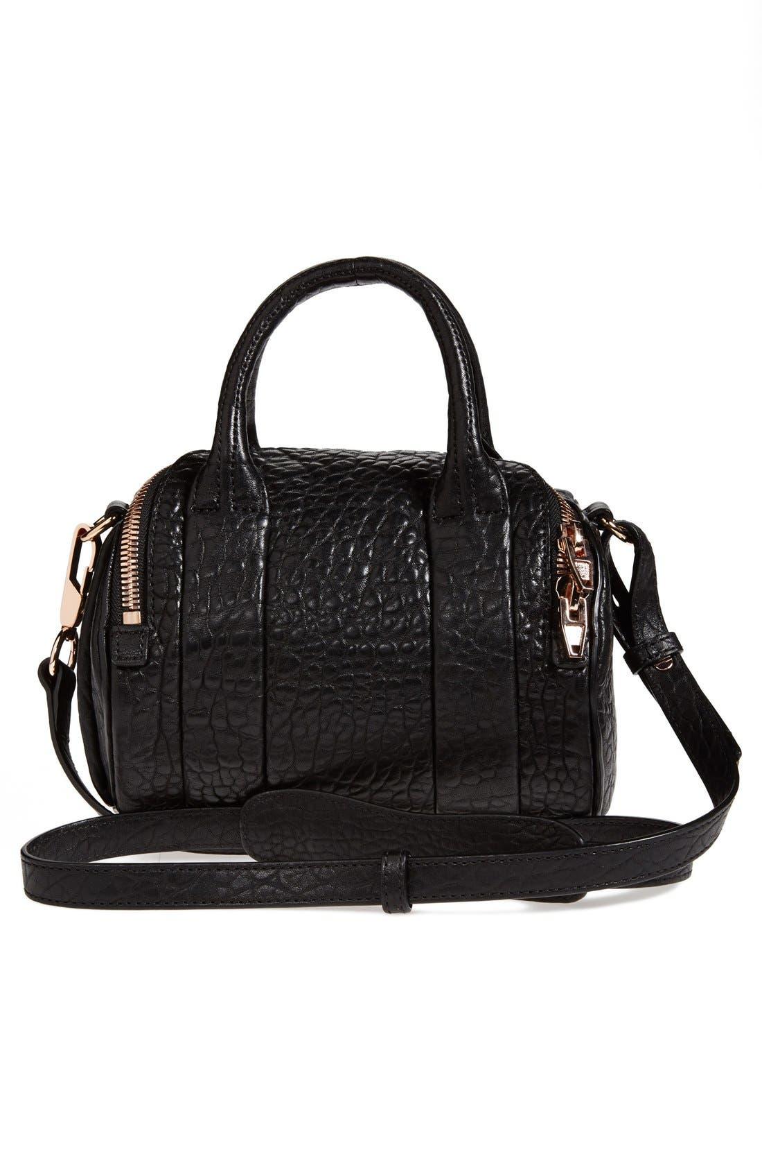 ,                             'Mini Rockie - Rose Gold' Leather Crossbody Satchel,                             Alternate thumbnail 4, color,                             BLACK