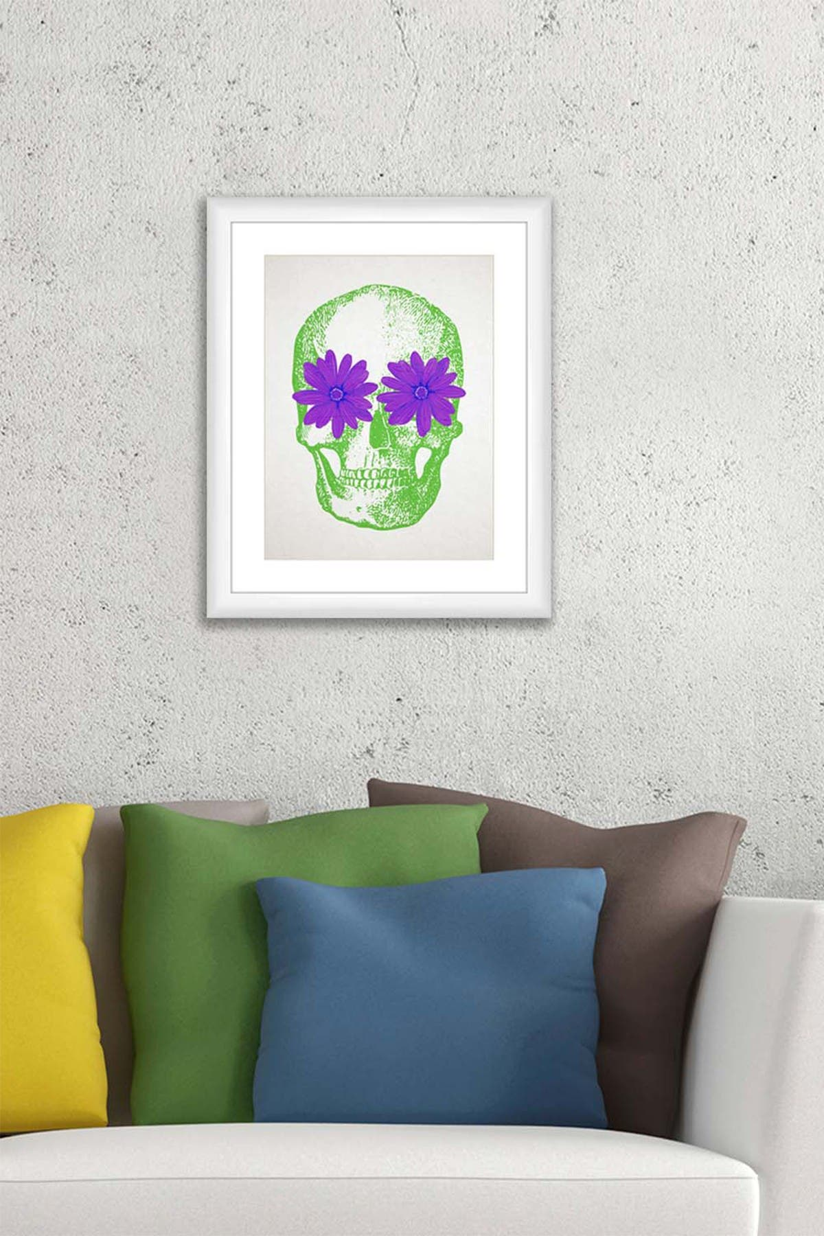 Image of PTM Images Purple Floral Skull Framed Matted Giclee Print