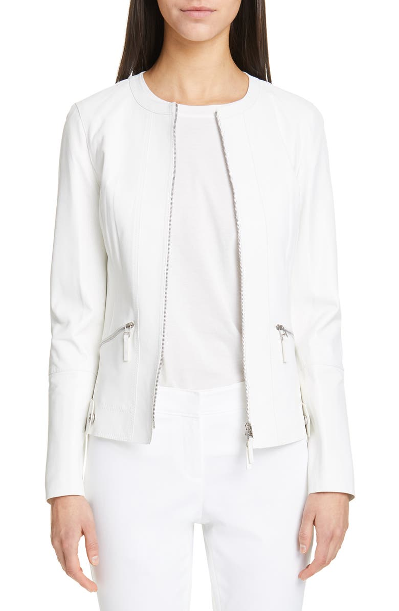 LAFAYETTE 148 NEW YORK Cairo Leather Jacket, Main, color, 100