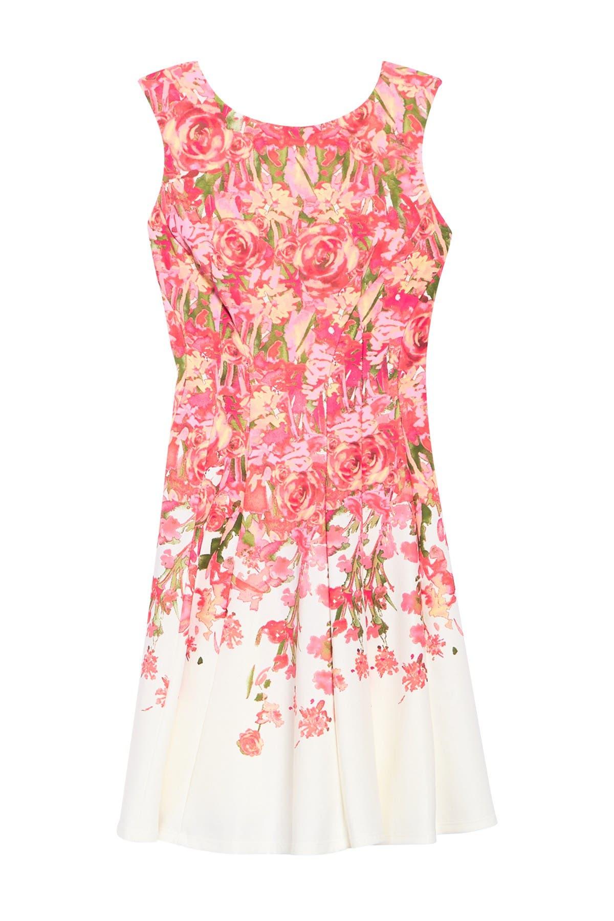 Image of Gabby Skye Sleeveless Floral Print Scuba Dress