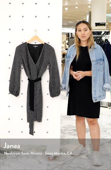 Sparkle Long Sleeve Faux Wrap Dress, sales video thumbnail