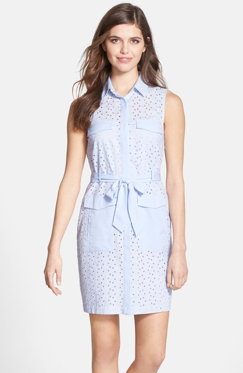 CECE by Cynthia Steffe Eyelet Shirtdress, Main, color, 400