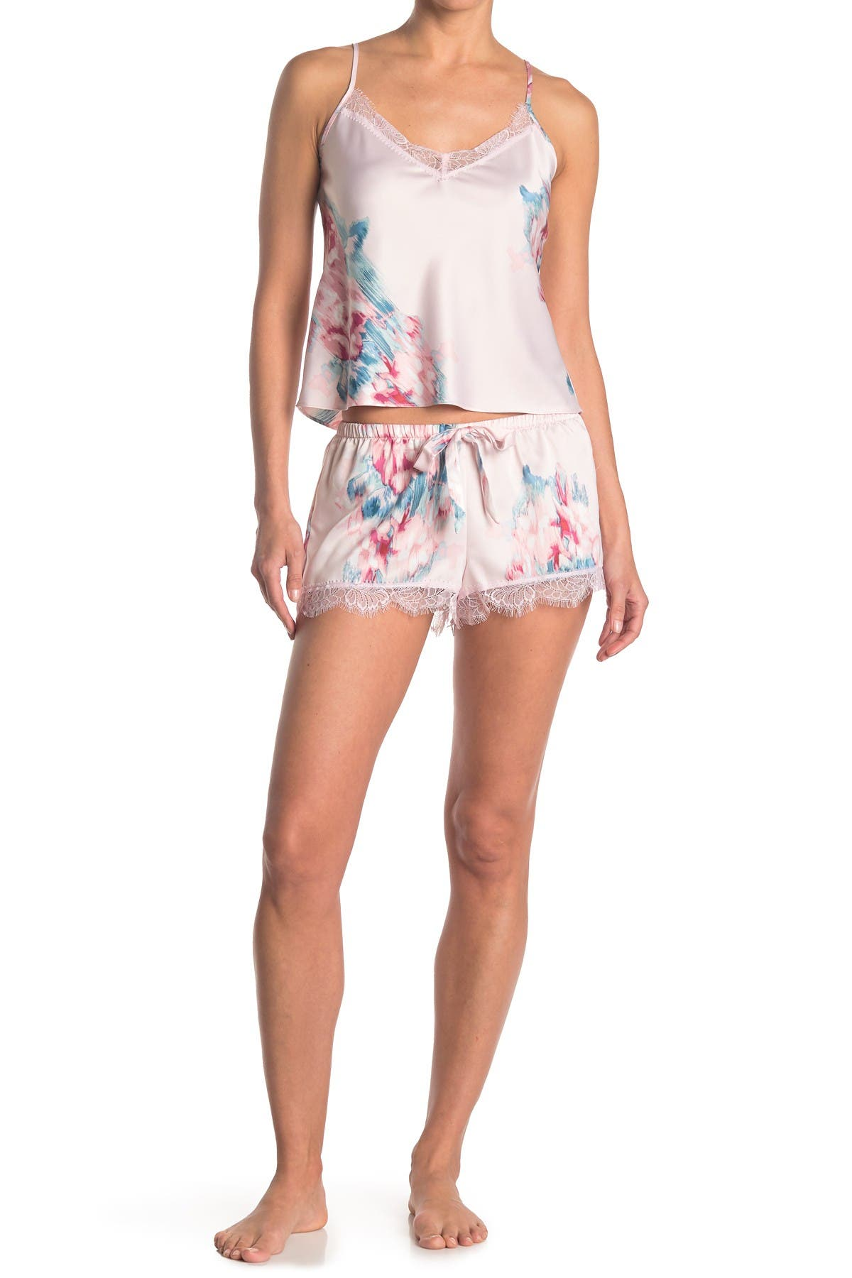 Image of In Bloom by Jonquil Floral Lace Trim Satin Camisole & Shorts 2-Piece Pajama Set