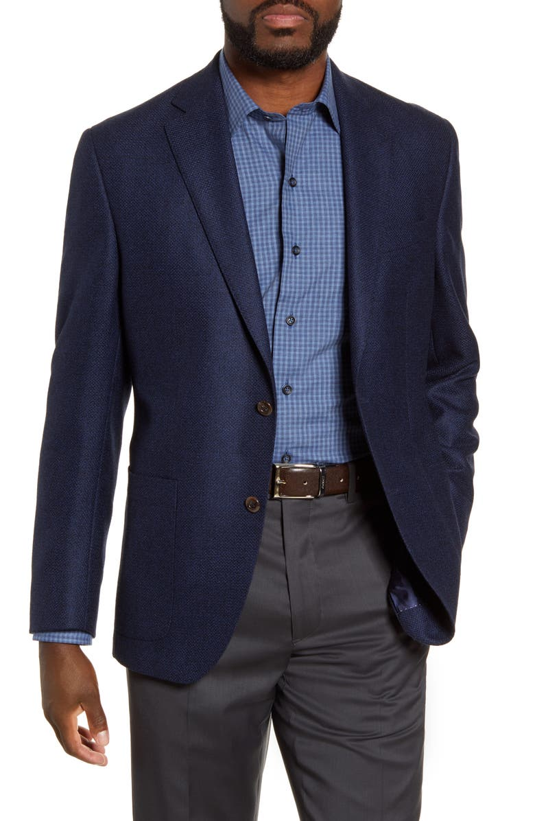 DAVID DONAHUE Aiden Classic Fit Solid Wool Sport Coat, Main, color, NAVY