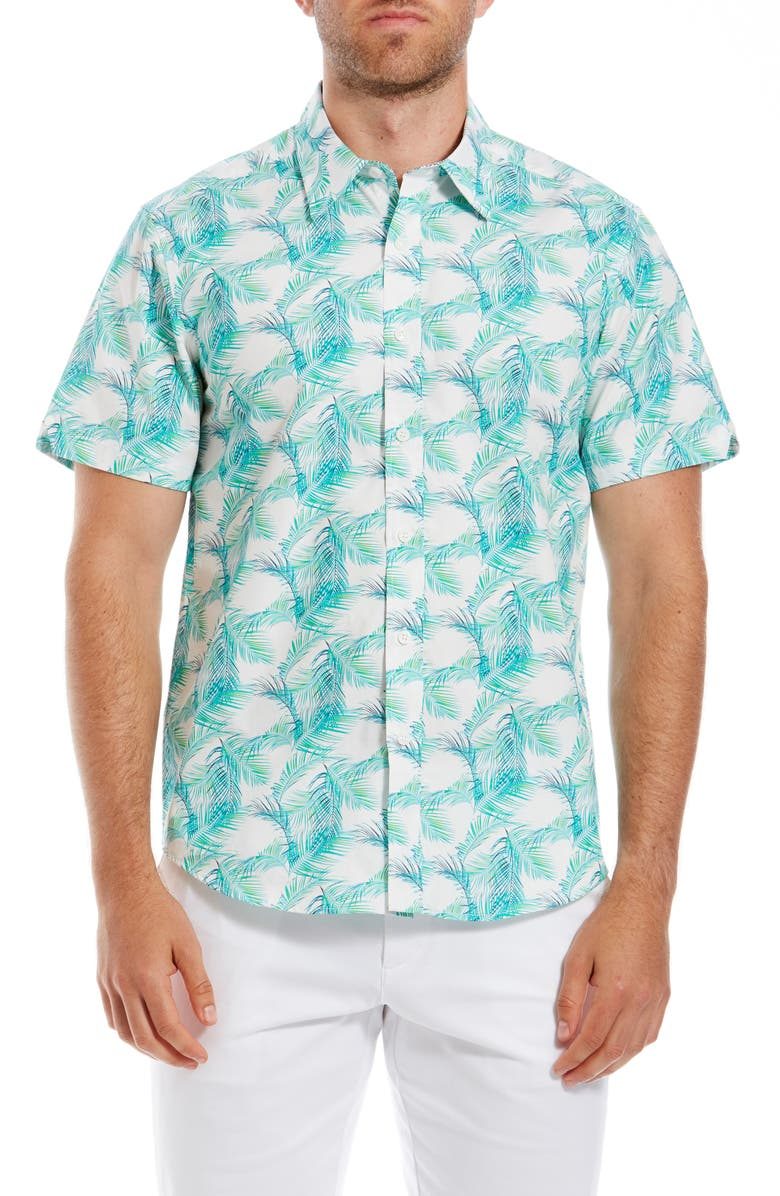 Ben Sherman Palm Leaf Print Slim Fit Short Sleeve Shirt