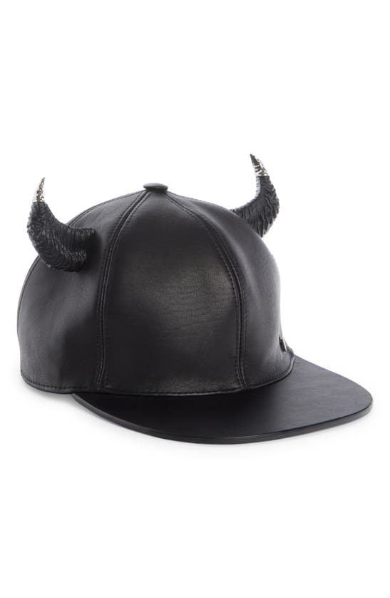 Givenchy Caps LEATHER BASEBALL CAP WITH HORNS