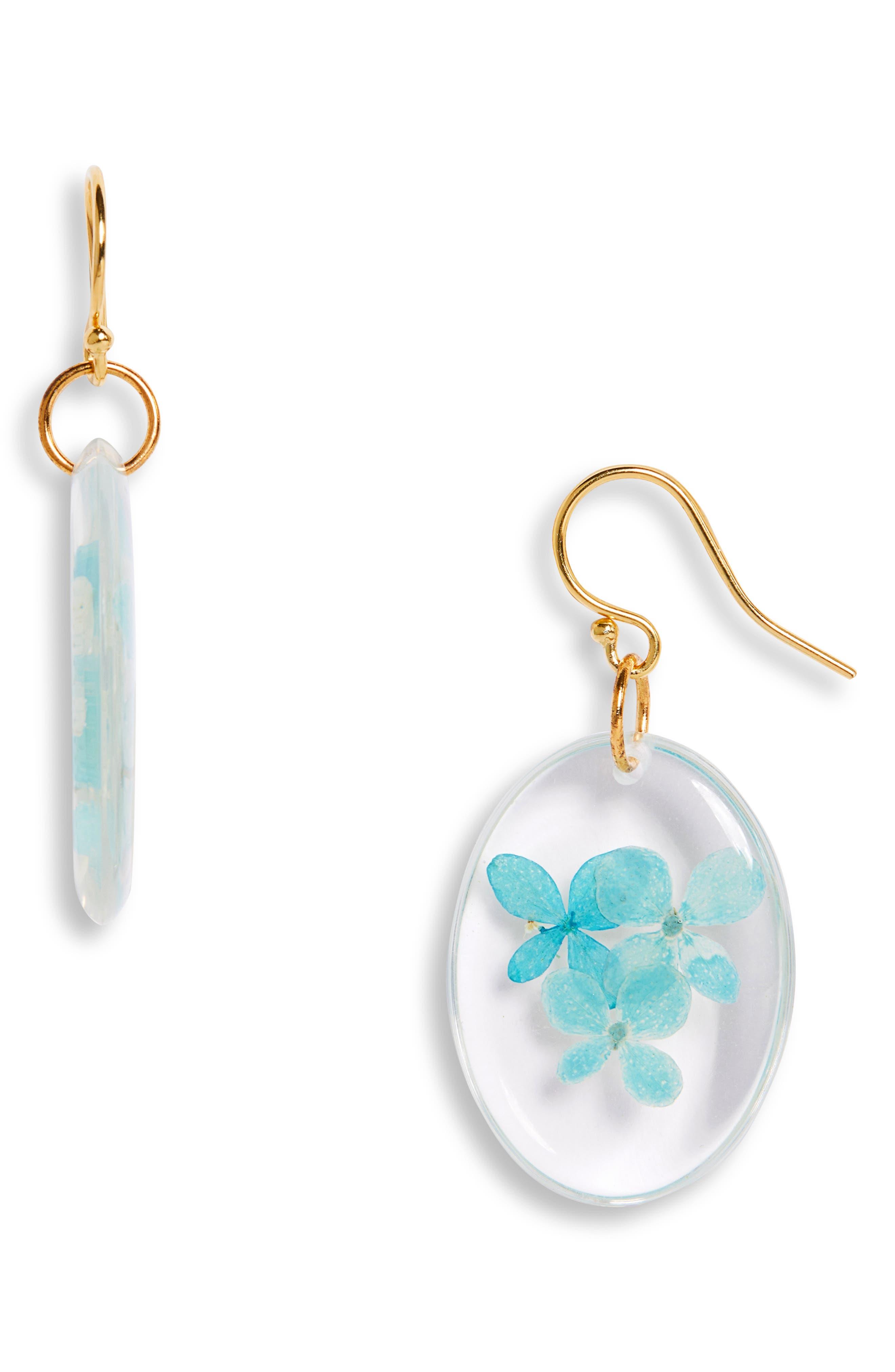 Pressed Hydrangea Drop Earrings