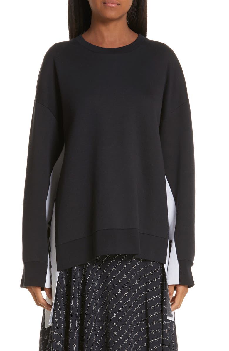 STELLA MCCARTNEY Logo Stripe Sweater, Main, color, INK/ WHITE