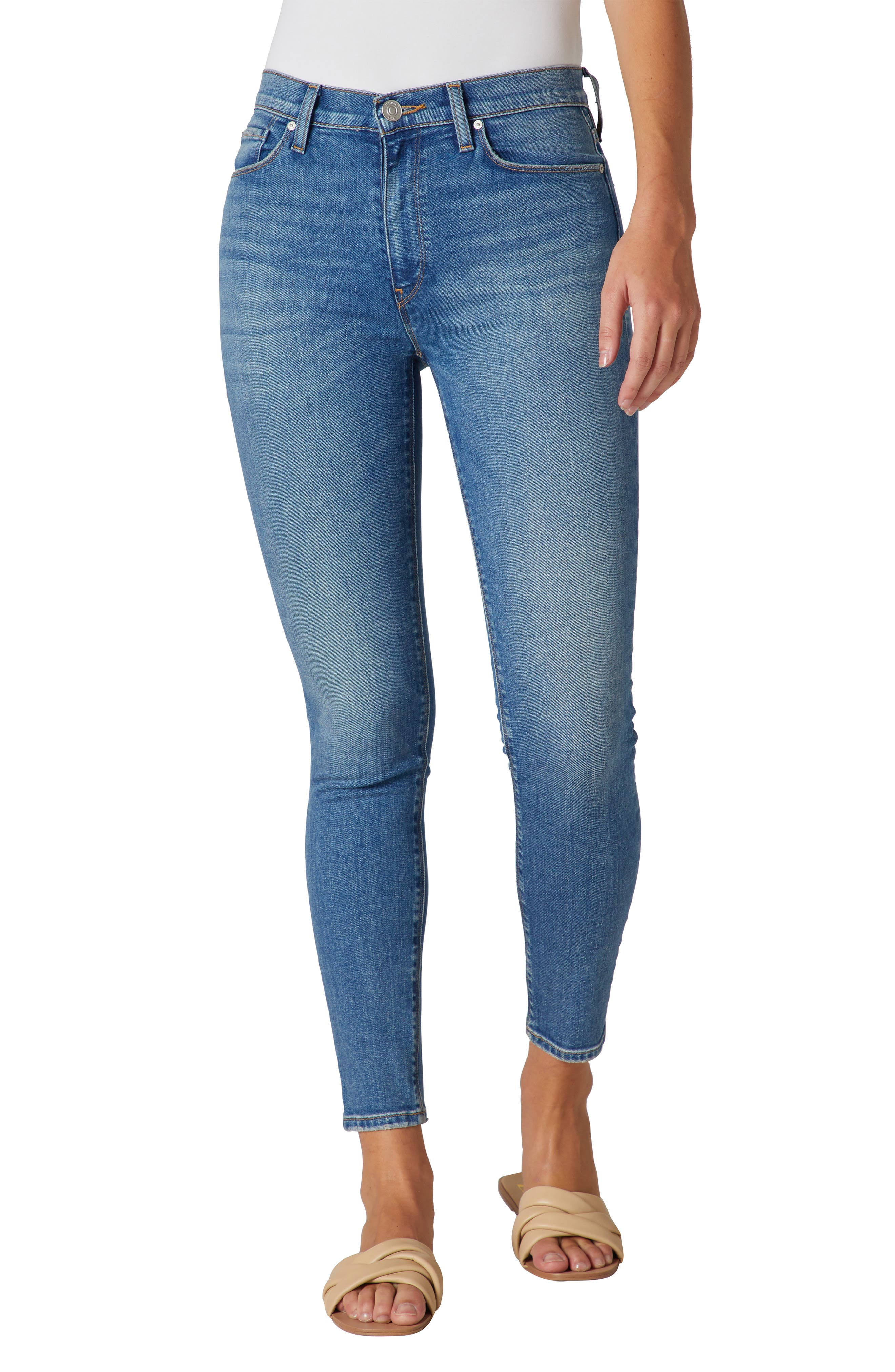 Figure-hugging high-rise jeans are cut from lightweight denim that\\\'s soft, stretchy, and faded to lived-in perfection. Style Name: Hudson Jeans Barbara High Waist Ankle Skinny Jeans. Style Number: 6098427. Available in stores.