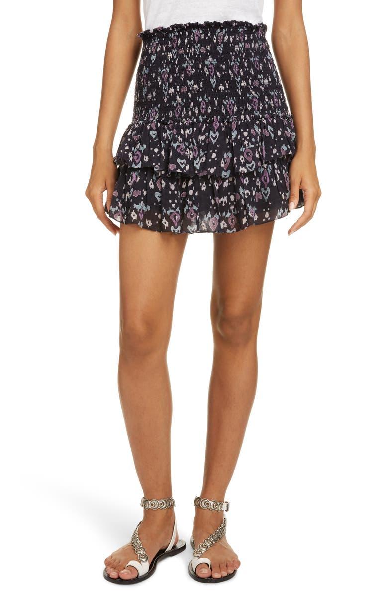 ISABEL MARANT ÉTOILE Frinley Smocked Miniskirt, Main, color, DARK MIDNIGHT