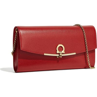 Salvatore Ferragamo Gancio Calfskin Leather Clutch - Red