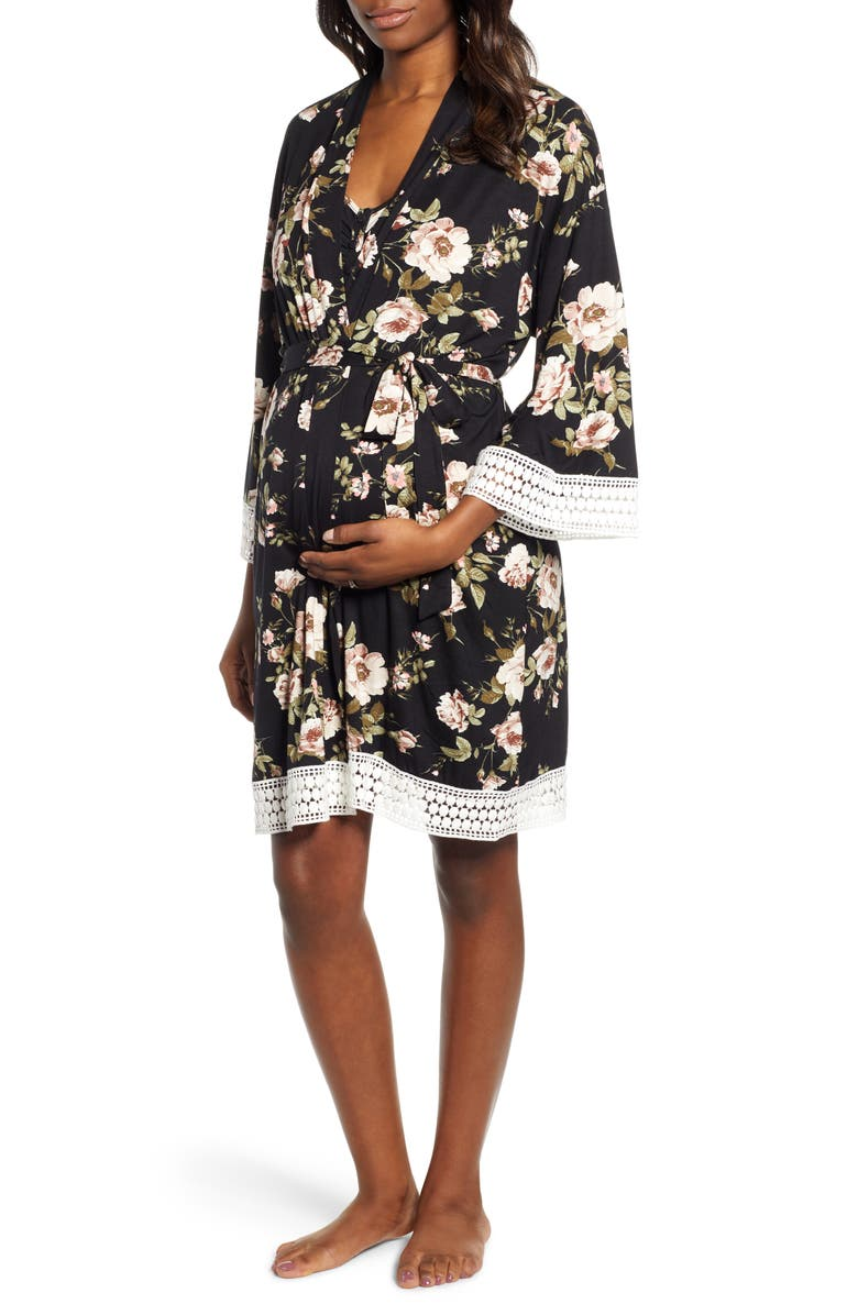 ANGEL MATERNITY Maternity/Nursing Dress, Robe & Blanket Set, Main, color, BLACK