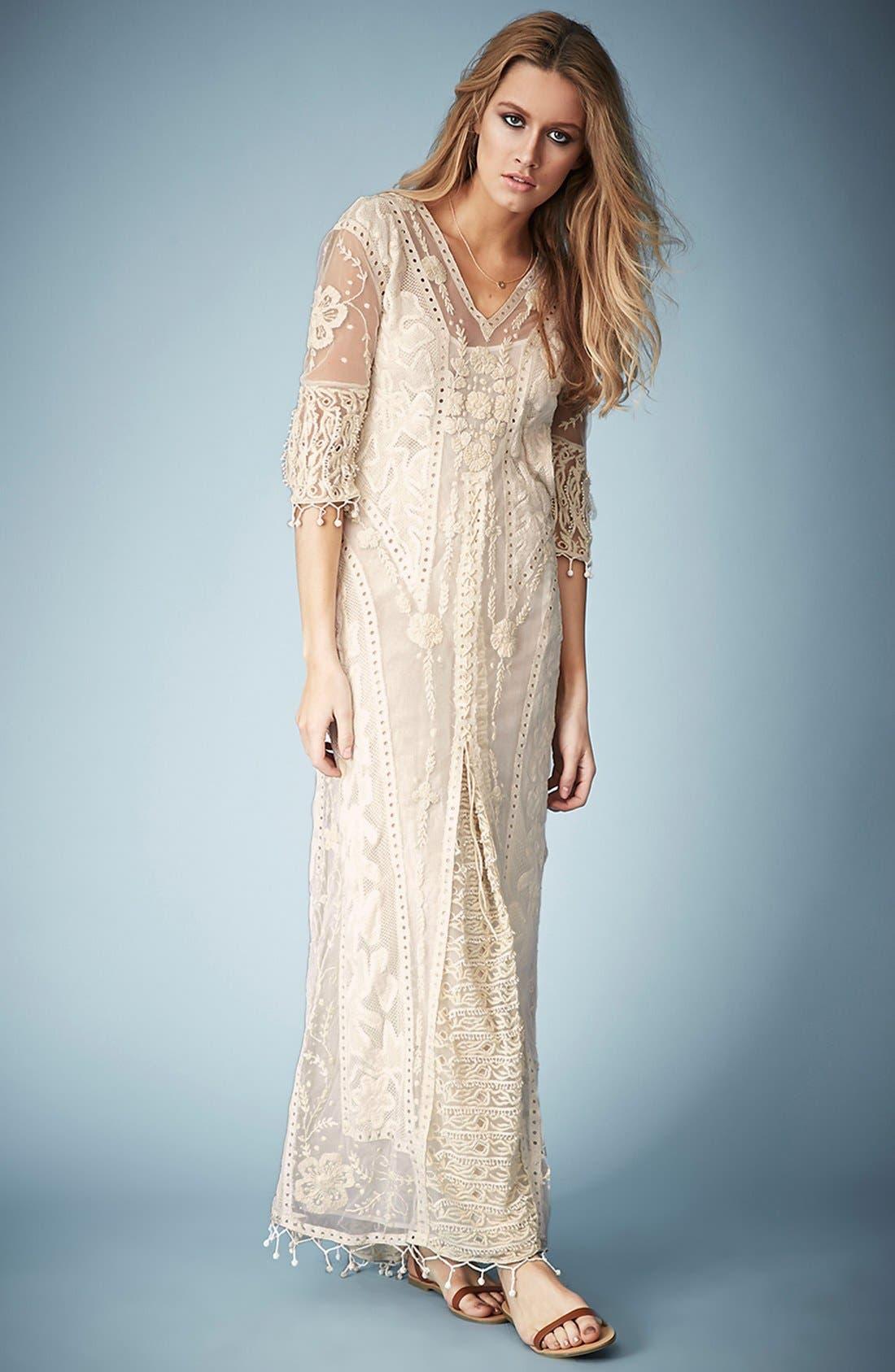 ,                             Kate Moss for Topshop Crochet Lace Maxi Dress,                             Alternate thumbnail 6, color,                             101
