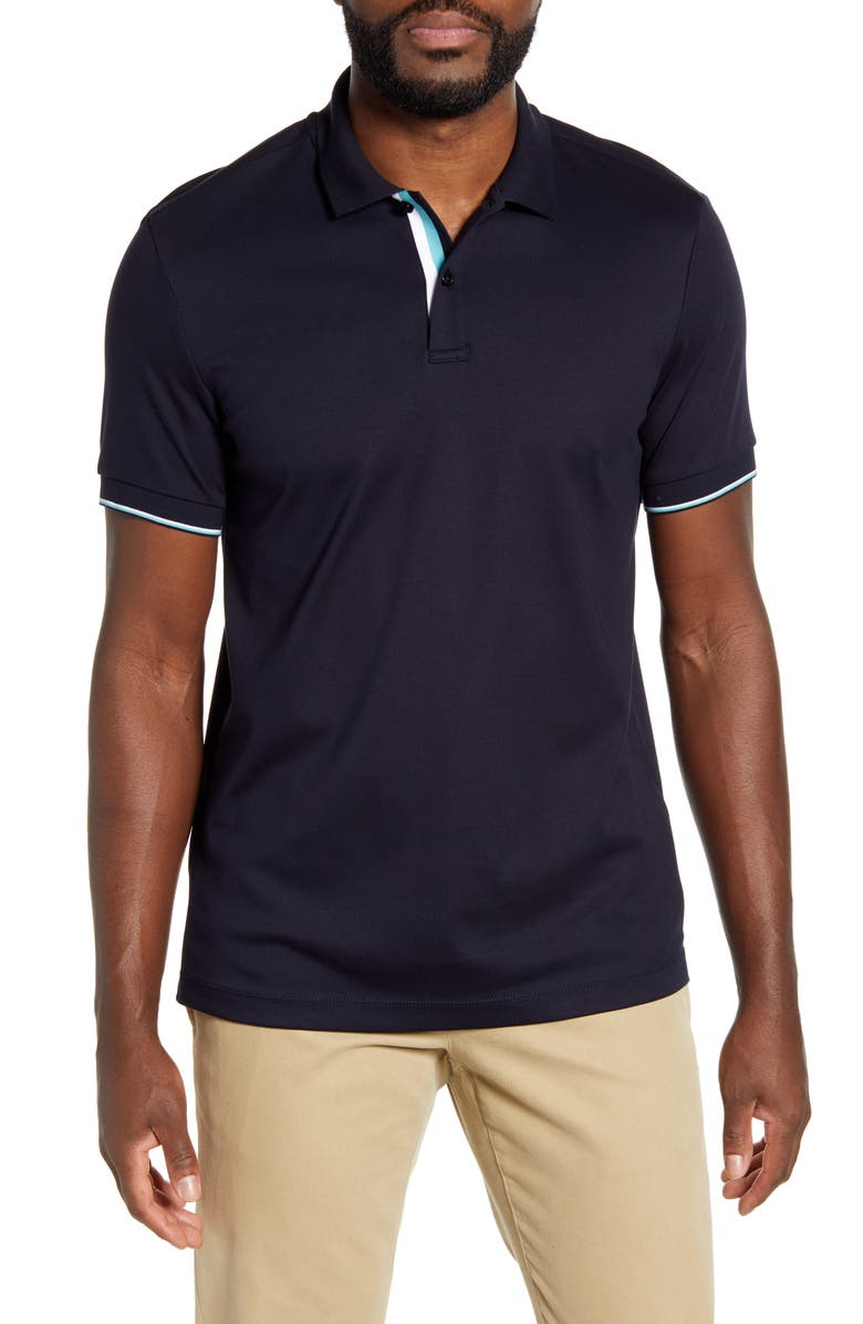 BOSS Parlay 78 Solid Polo, Main, color, NAVY