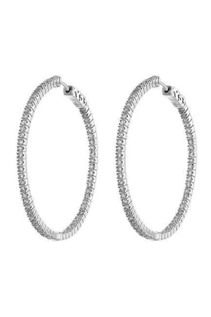 Image of CZ By Kenneth Jay Lane CZ Inside-Out 50mm Hoop Earrings