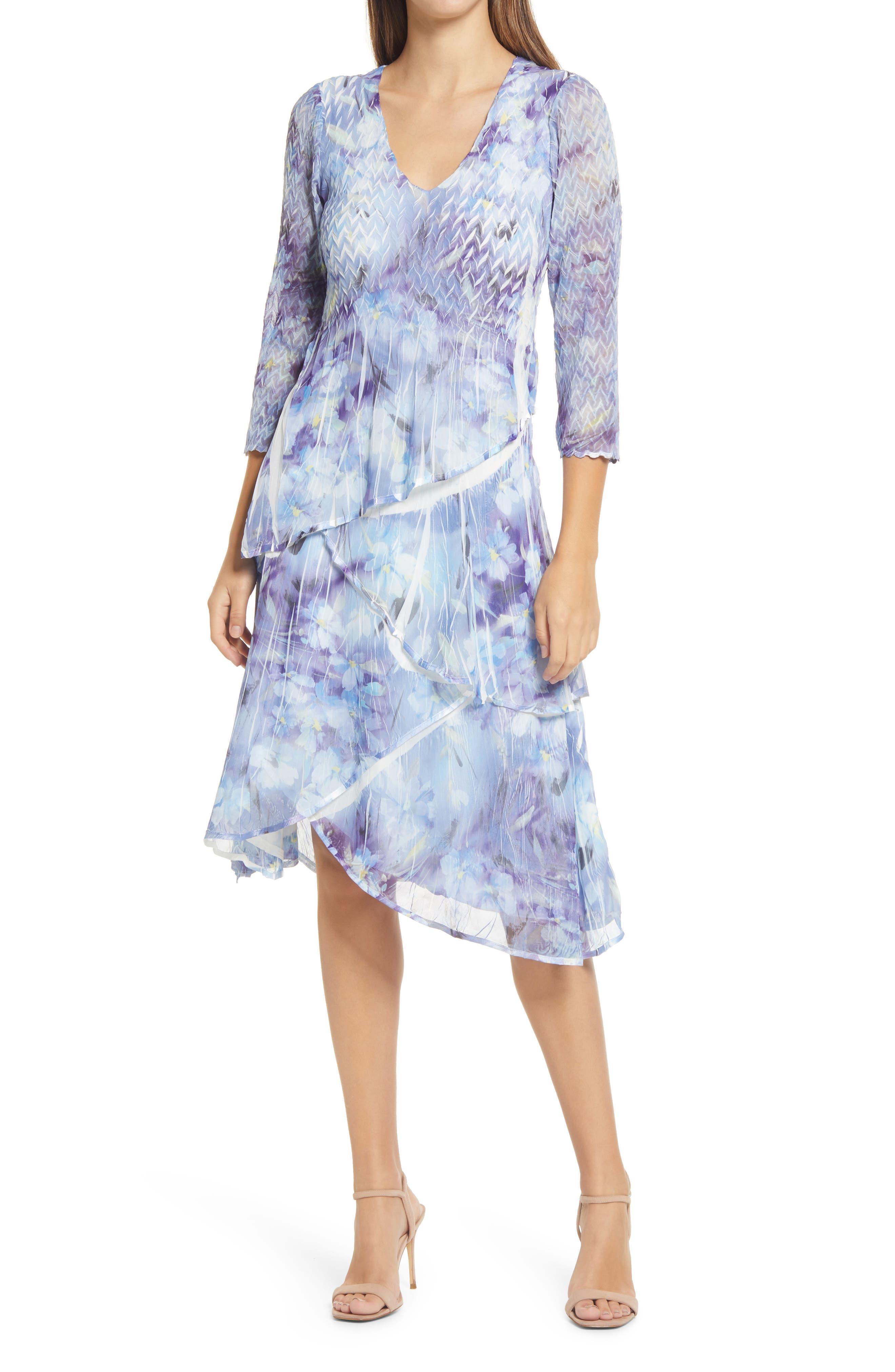 Image of Hydroderm Floral Tiered V-Neck Dress