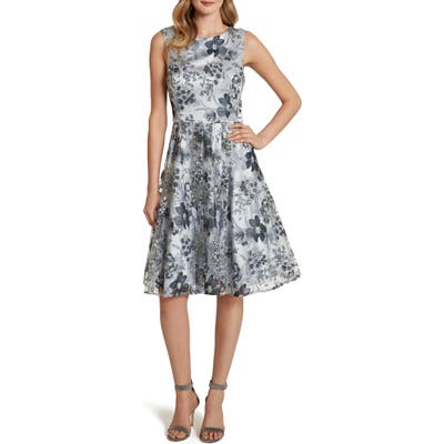 Tahari Embroidered Fit & Flare Cocktail Dress, Blue