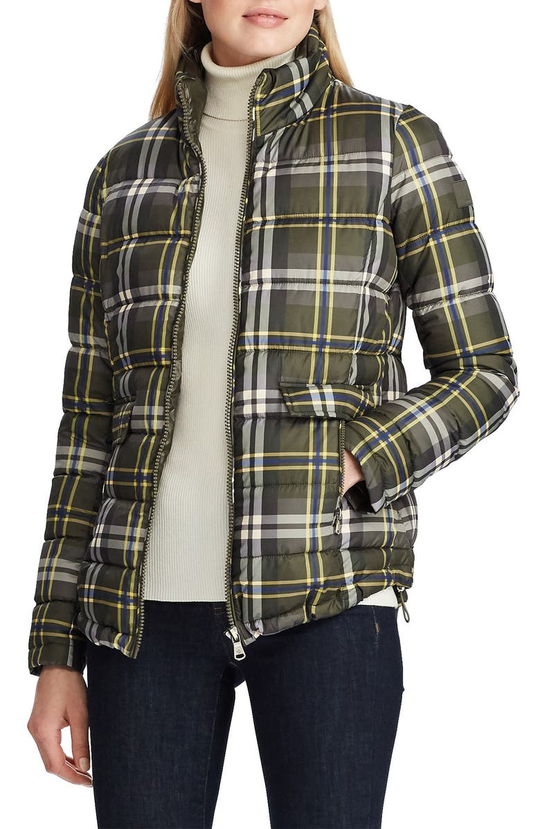 LAUREN RALPH LAUREN Plaid Quilted Jacket, Main, color, LODEN PLAID