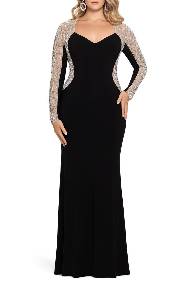 XSCAPE Caviar Beading Long Sleeve Trumpet Gown, Main, color, BLACK/ NUDE/ SILVER
