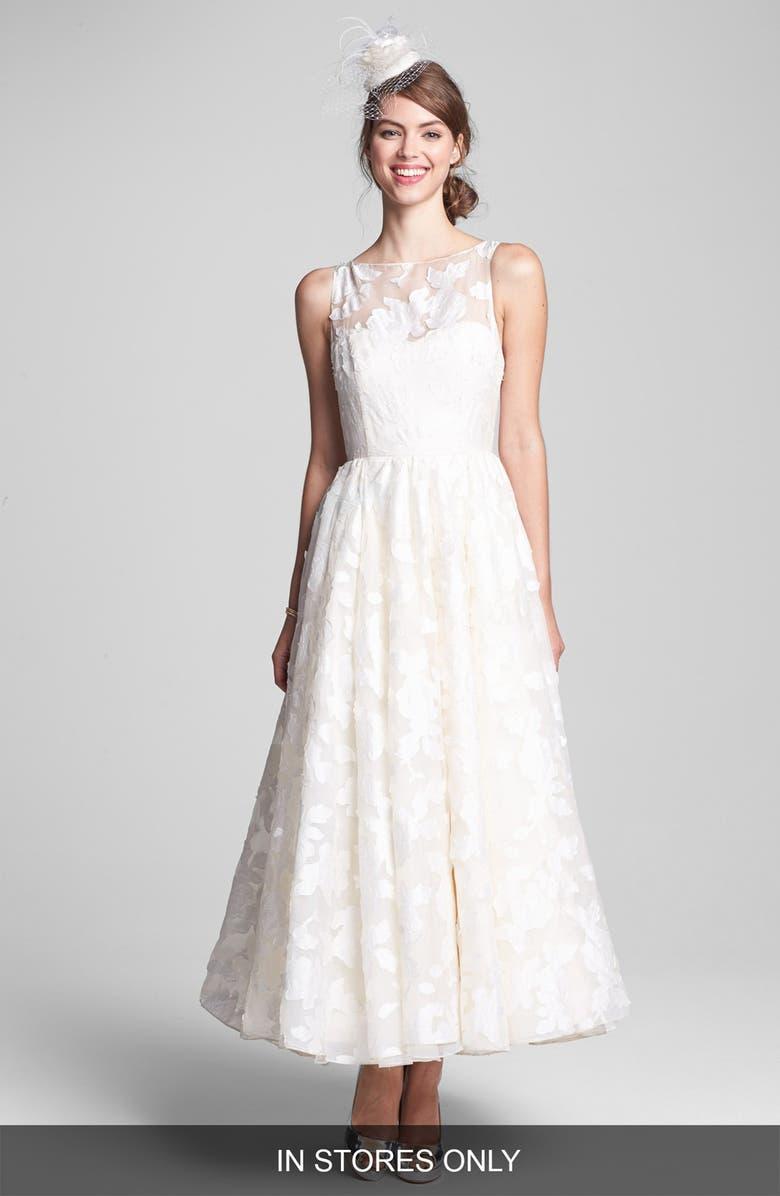 HAYLEY PAIGE 'Hepburn' Floral Appliqué Silk Organza Dress, Main, color, 900