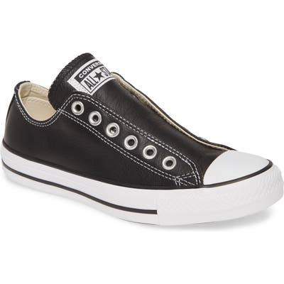 Converse Chuck Taylor All Star Laceless Leather Low Top Sneaker- Black