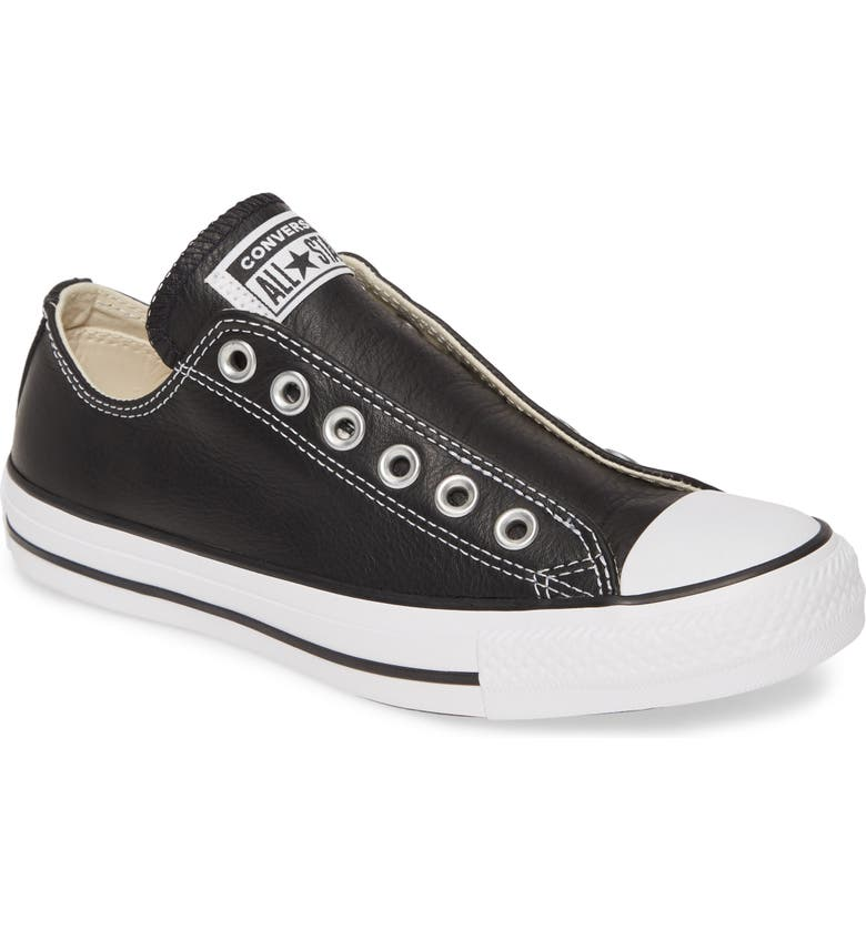 CONVERSE Chuck Taylor<sup>®</sup> All Star<sup>®</sup> Laceless Leather Low Top Sneaker, Main, color, BLACK/ WHITE/ BLACK