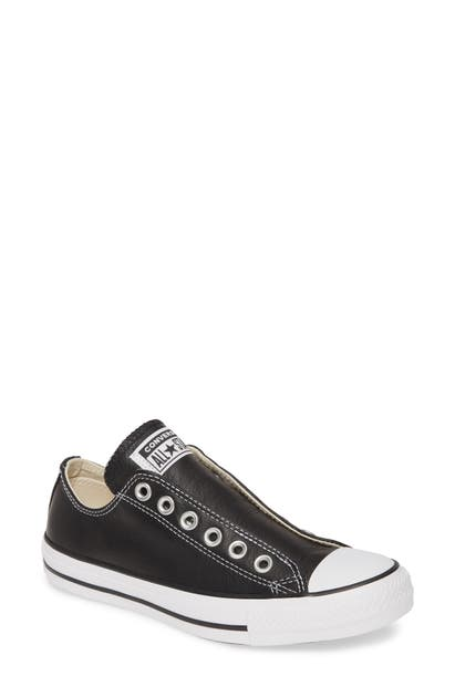 Converse Chuck Taylor All Star Laceless Leather Low Top Sneaker In Black/ White/ Black