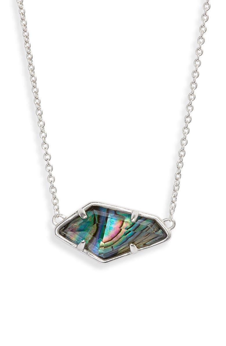 KENDRA SCOTT Lilith Pendant Necklace, Main, color, RHODIUM/ ABALONE SHELL