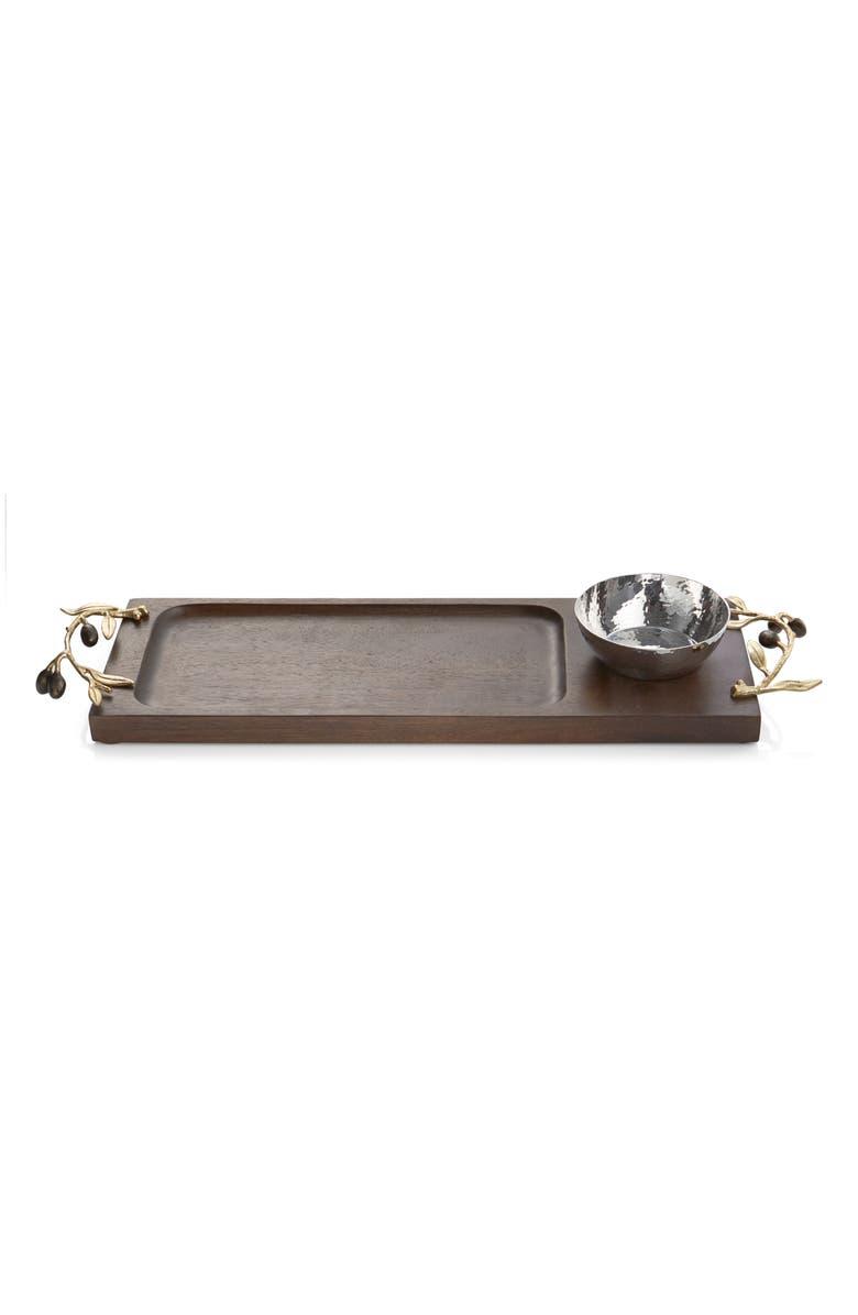 MICHAEL ARAM Olive Branch Olive Oil Dipping Board, Main, color, GOLD/ BLACK