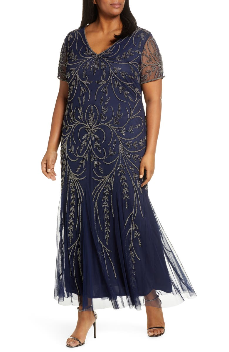 PISARRO NIGHTS V-Neck Embellished Mesh Gown, Main, color, NAVY