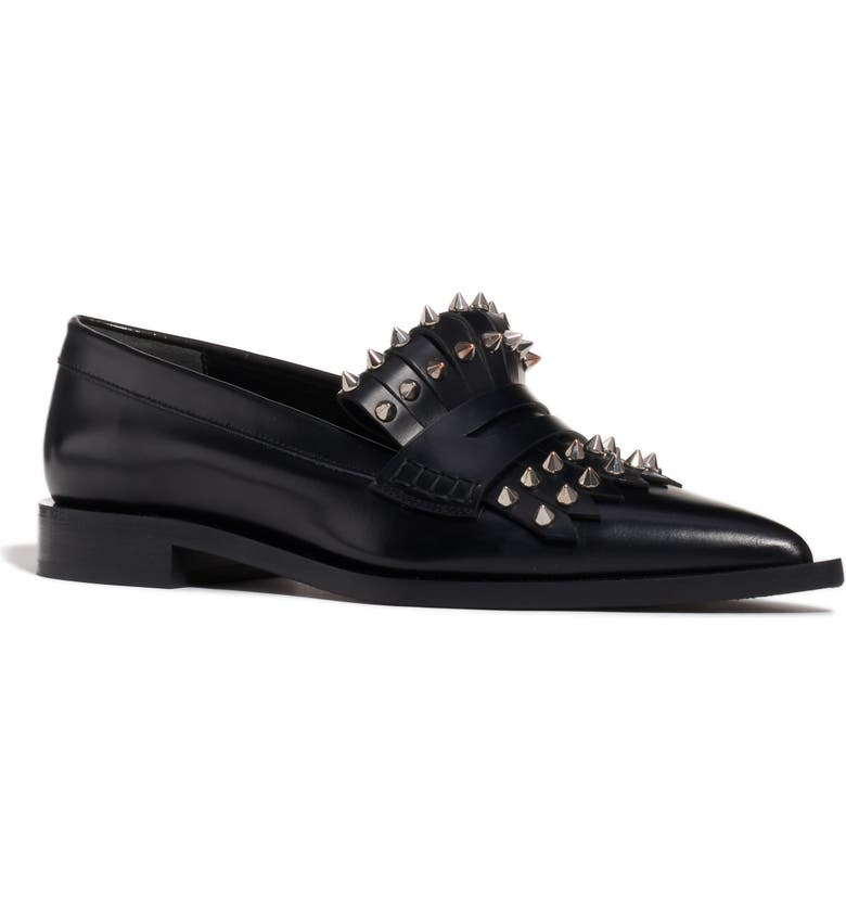 ALEXANDER MCQUEEN Studded Kiltie Loafer, Main, color, BLACK LEATHER