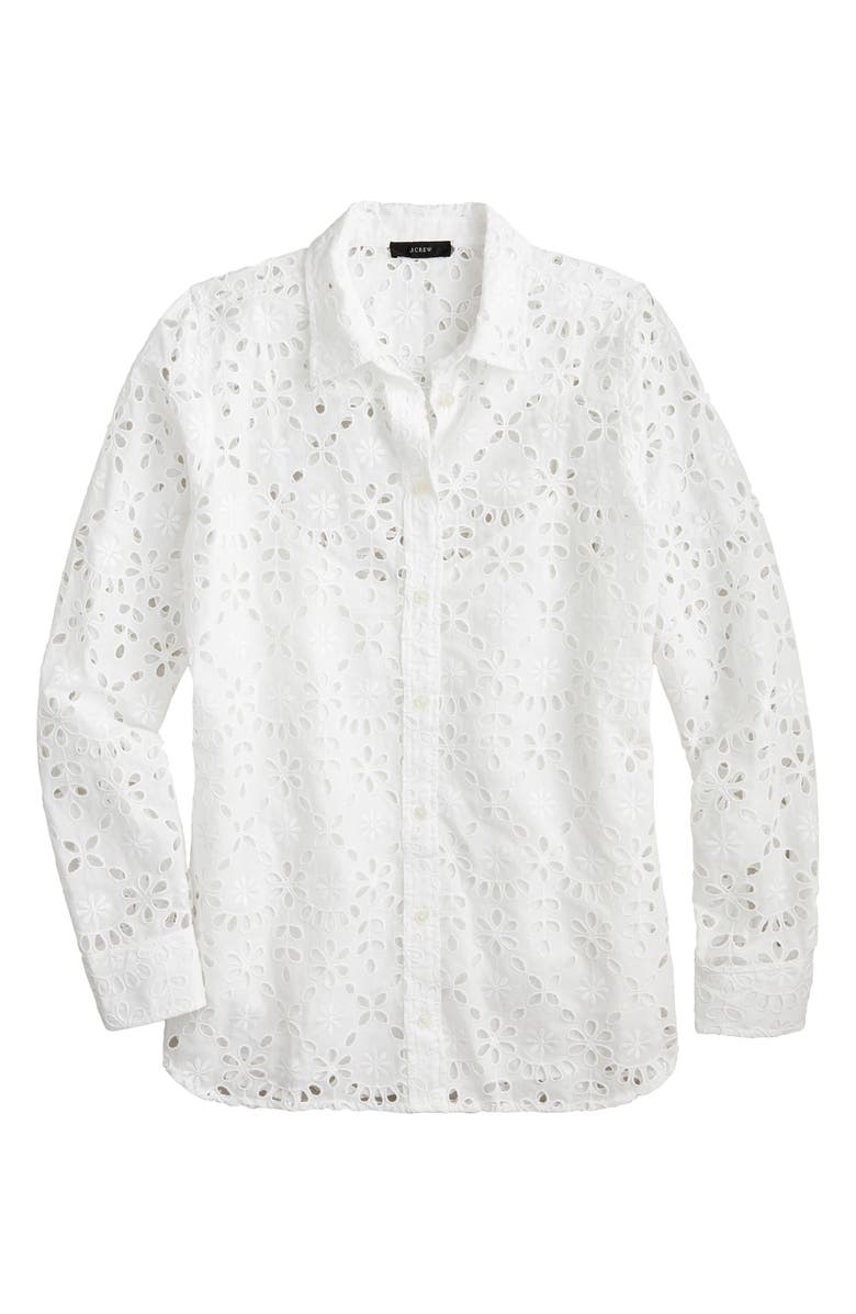 J.CREW Embroidered Eyelet Long Sleeve Button-Up Shirt, Main, color, 100