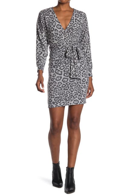 Image of MAX & ASH Leopard Print Wrap Style Knit Dress