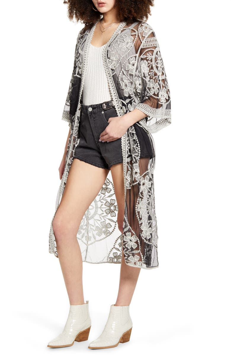 WOVEN HEART Embroidered Mesh Duster, Main, color, BLACK/ WHITE