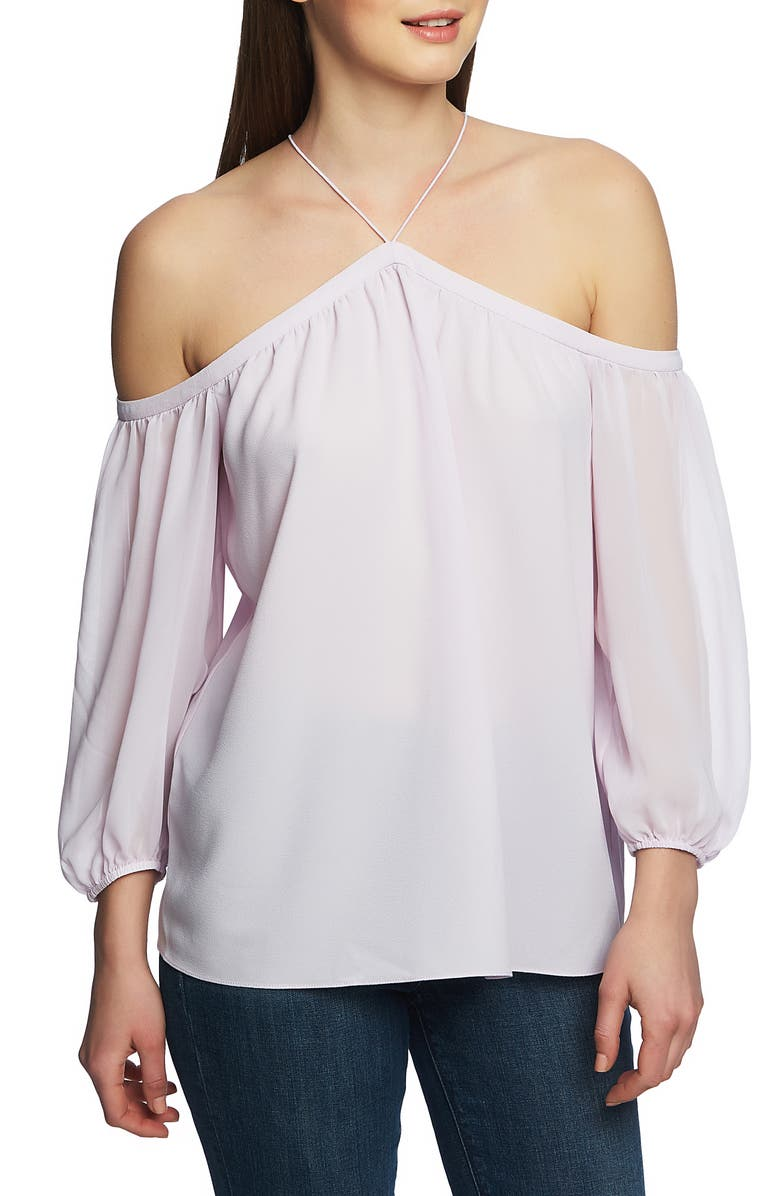 1.STATE Off the Shoulder Sheer Chiffon Blouse, Main, color, ORCHID BUD