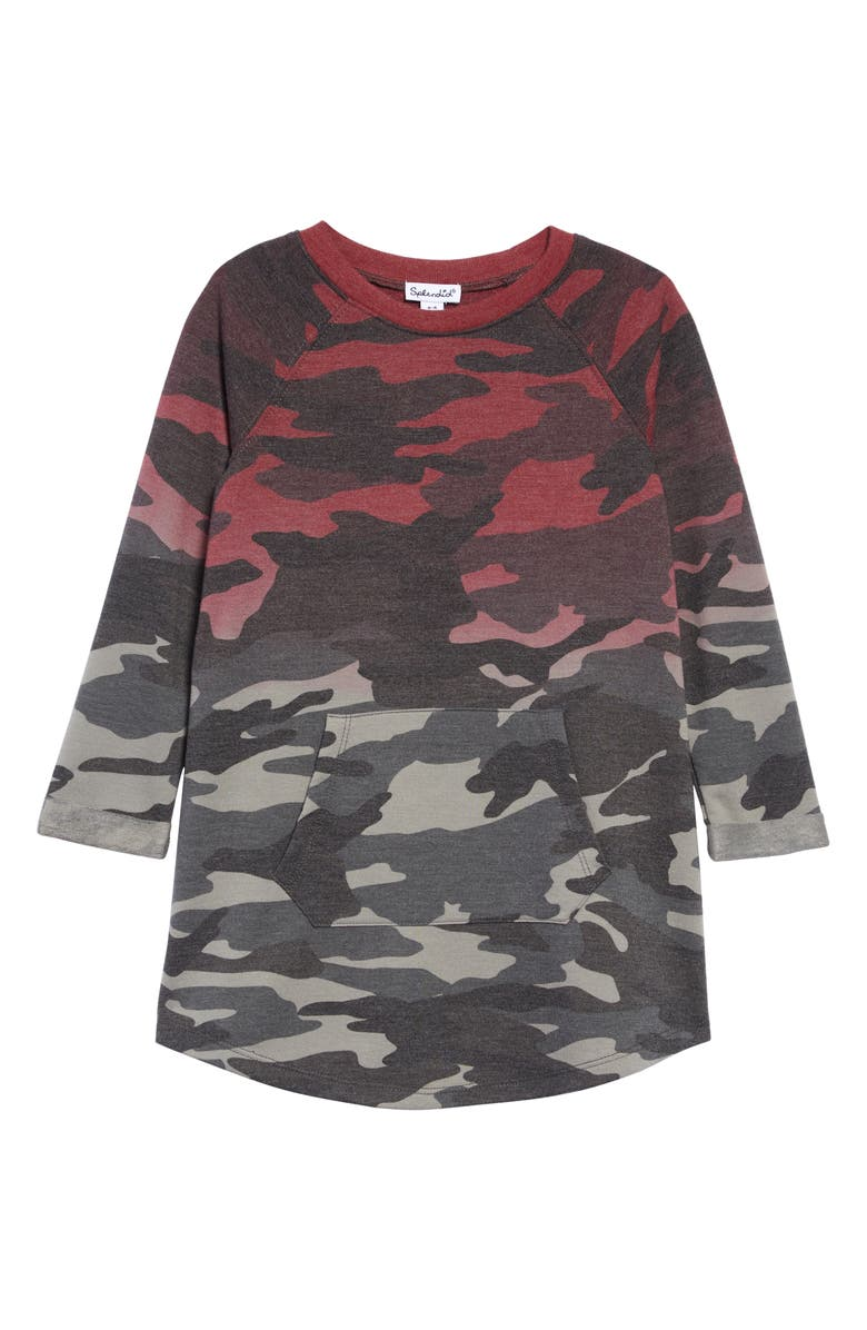 SPLENDID Dip Dye Camo Sweatshirt Dress, Main, color, DSTY OLV