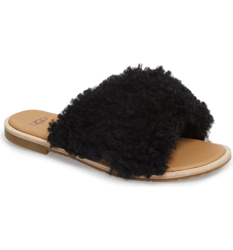UGG<SUP>®</SUP> Joni Genuine Shearling Slide Sandal, Main, color, 001
