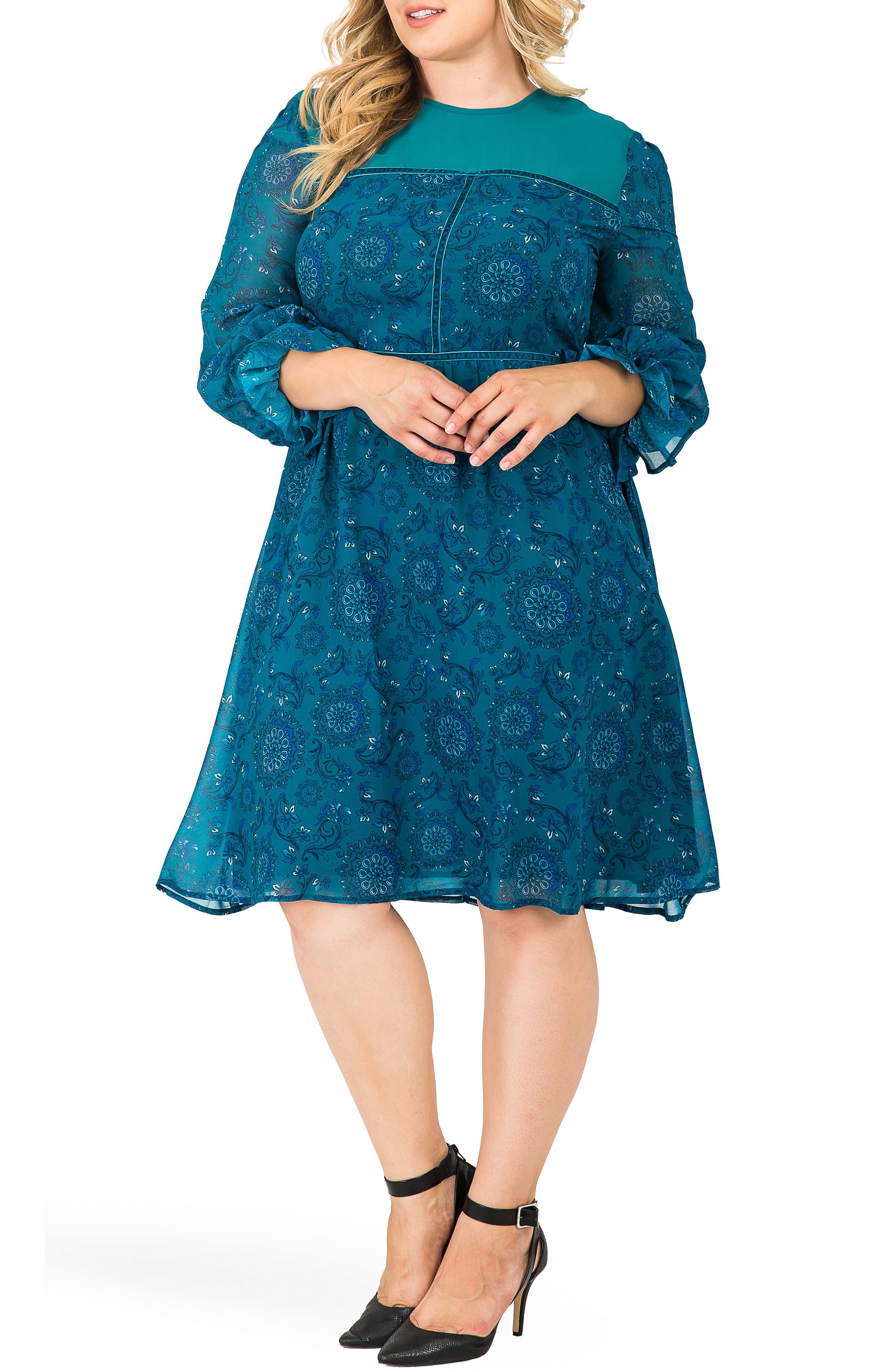 Plus Size Standards & Practices Elsie Floral Print A-Line Dress, Blue
