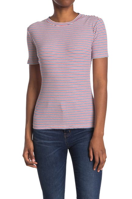 Image of Scotch & Soda Stripe Ribbed Tee