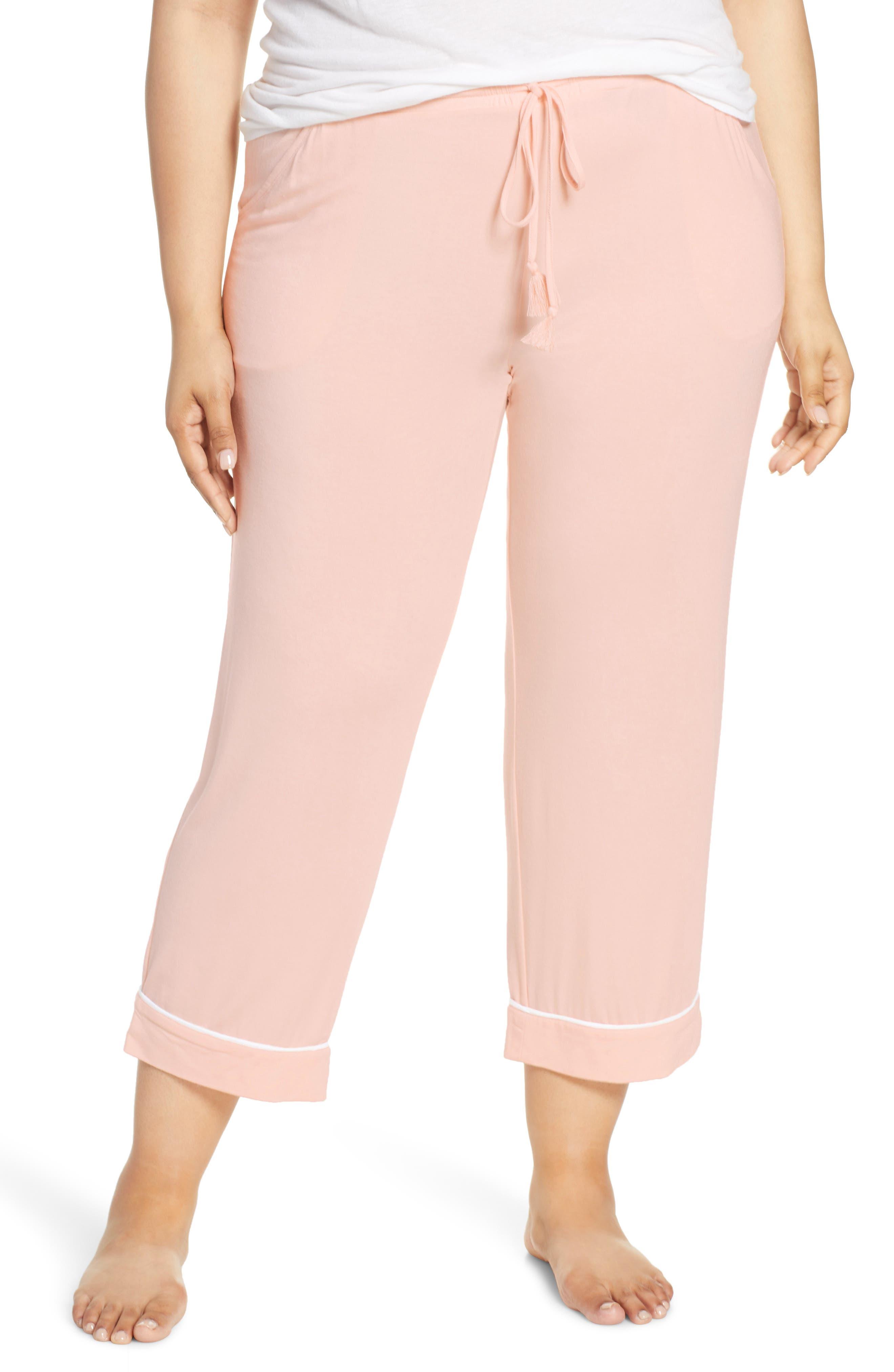 Plus Size Nordstrom Lingerie Moonlight Crop Pajama Pants, Pink