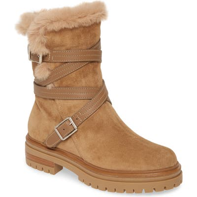 Gianvito Rossi Wrap Belt Faux Shearling Boot, Beige