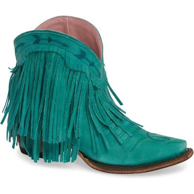 Lane Boots X Junk Gypsy Spitfire Fringe Bootie, Blue/green