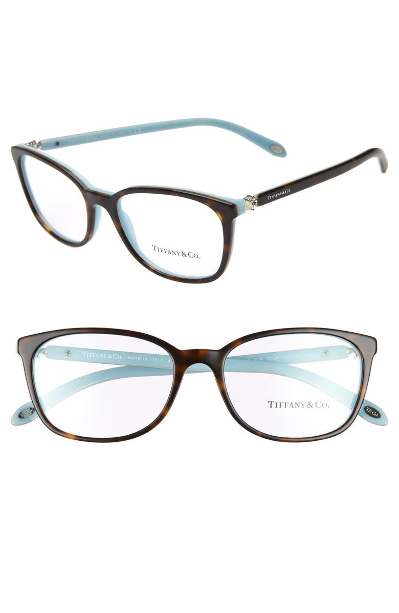 TIFFANY & CO. 53mm Optical Glasses, Main, color, HAVANA/ BLUE