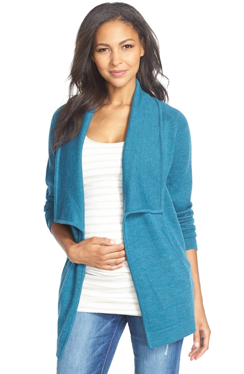 TART MATERNITY 'Bain' Open Front Maternity Cardigan, Main, color, EMERALD