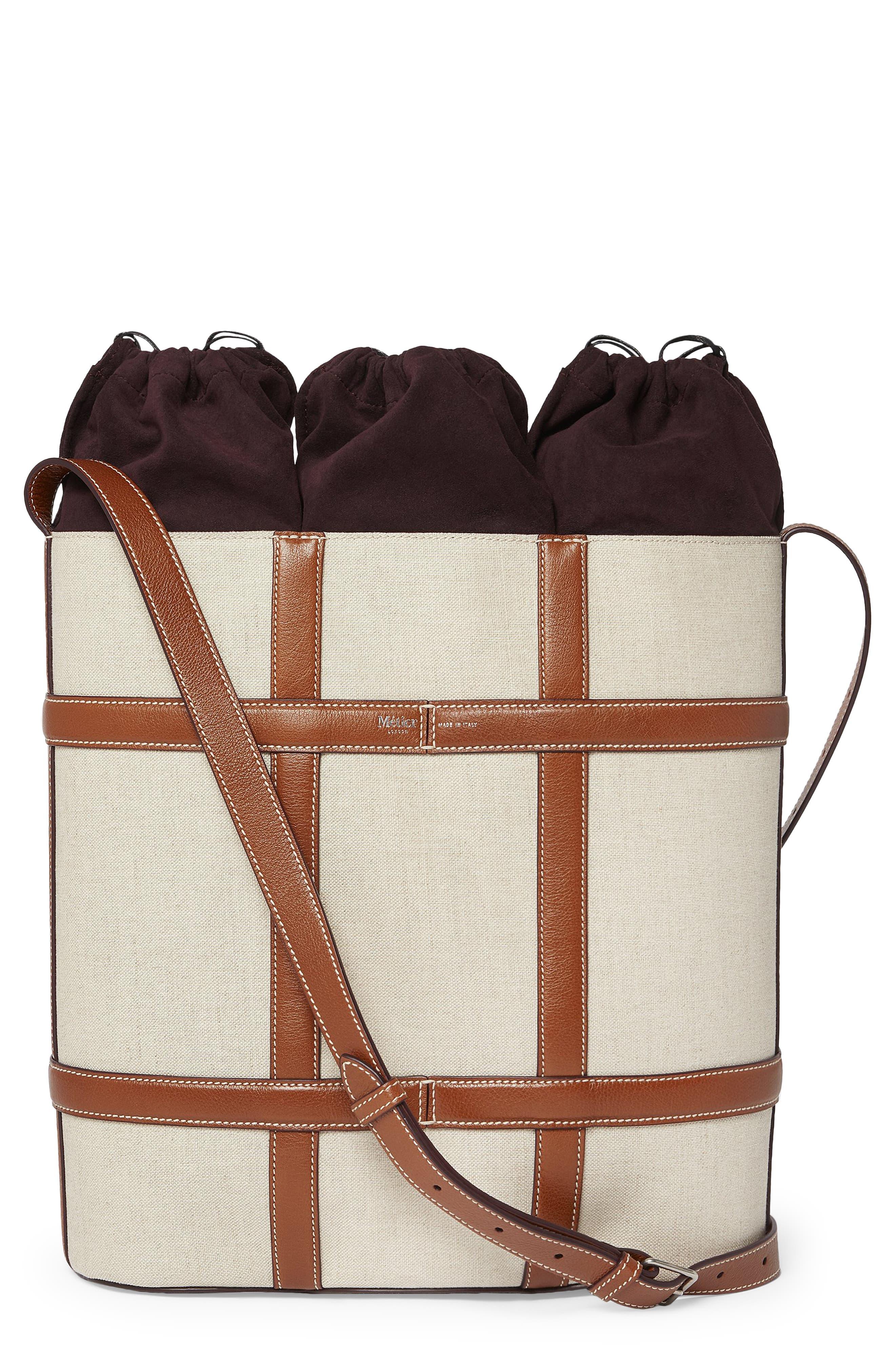 Linen & Leather Triple Wine Carrier